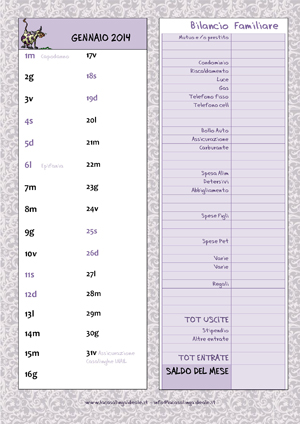 Calendario agenda 2014 la casalinga ideale - Voci bilancio familiare ...