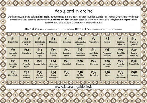 40 giorni in ordine programma stampabile la casalinga - Organizzare pulizie casa ...