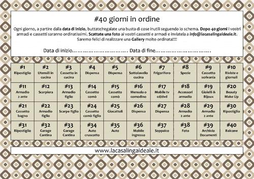 40 giorni in ordine programma stampabile la casalinga for Piano del sito di casa